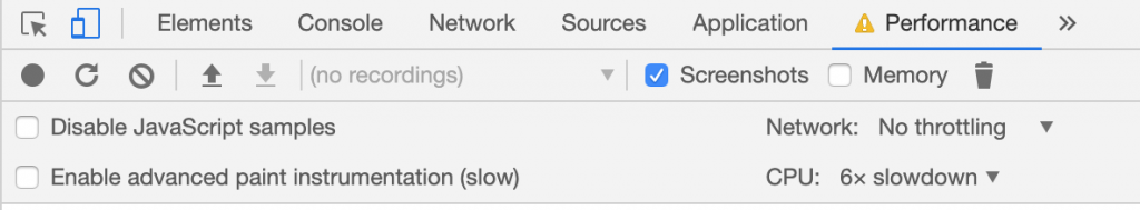 Chrome Performance Tab, CPU Throttling to emulate weaker hardware for CSS Animations